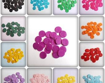 20mm felt circles, felt circles, felt shapes, felt embellishments, craft shapes, craft felt, felt, embellishments, scrapbooking