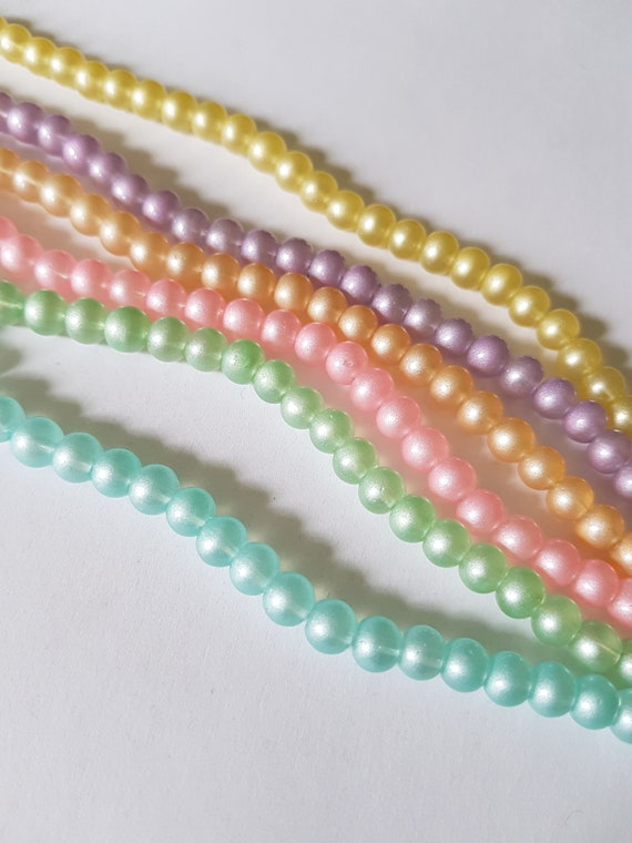 30 x Sprayed Glass Beads 9mm Oval Various Colours Available Pastels