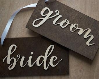 Bride Groom Sign - Laser Cut Bride and Groom Chair Sign - Wedding Wood Sign - Bride and Groom Chair Hanging Sign