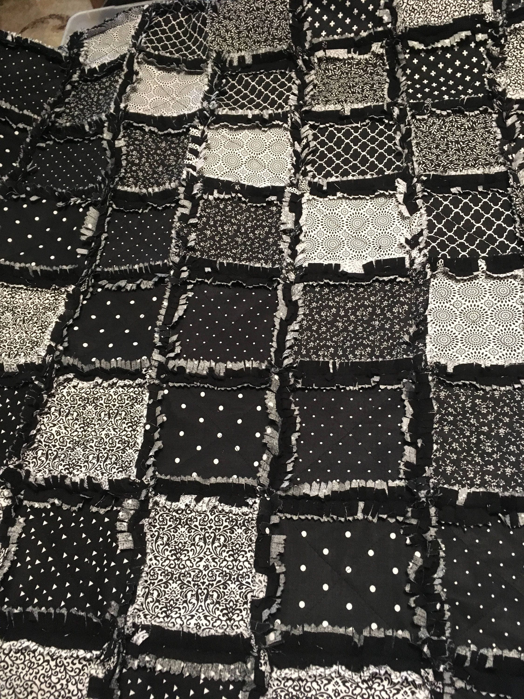 Black White Rag Quilt Crib Size