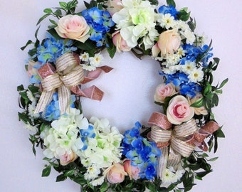 White and Blue Hydrangea Wreath, Rose Gold Ribbon Wreath, Pale Pink Roses and Ivy Wreath, Hydrangea/Roses Grapevine Wreath