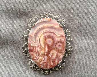 Crazy Lace Agate Brooch Pendant