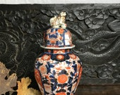 Antique Imari jar and cover 19th Century china display vase Foo dog cover