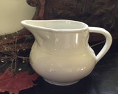 A beautiful French white ironstone jug vintage French water pitcher kitchen decor simple country display