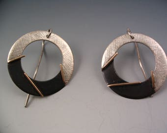 earrings oxidized and textured