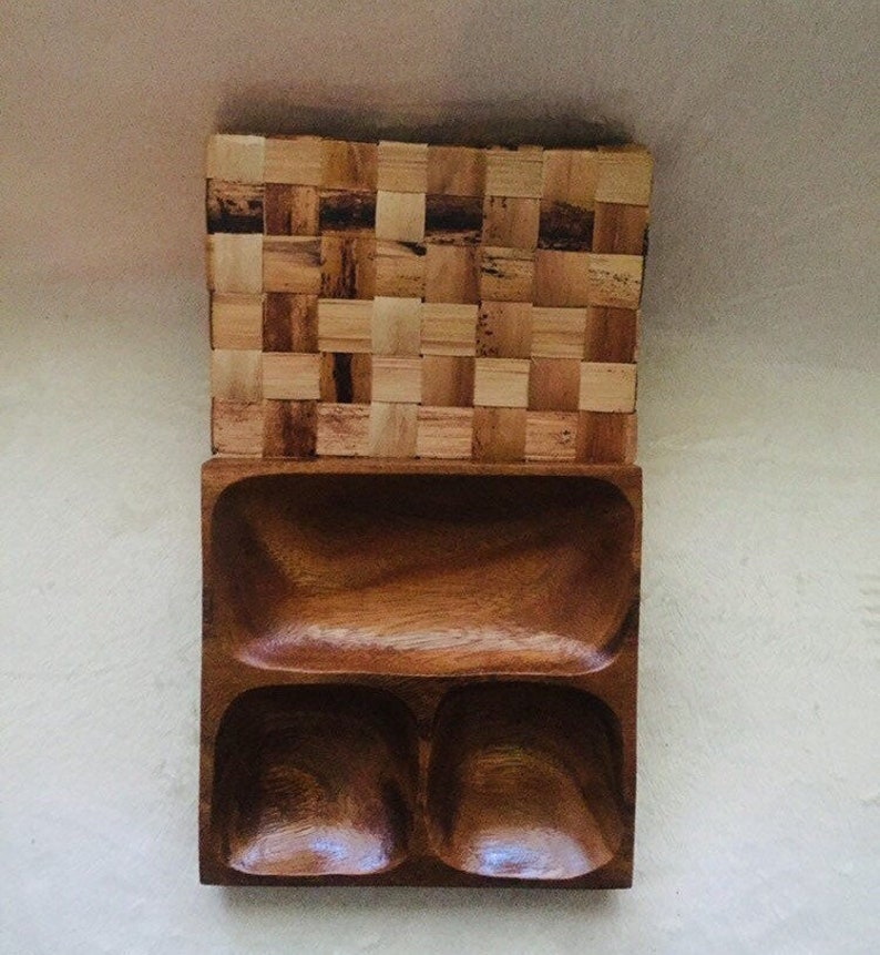 Teak Wood Divided Dish with Nesting Basket.