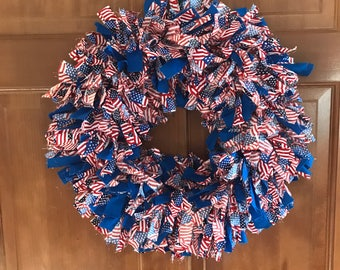 Red white and blue with American flag rag wreath