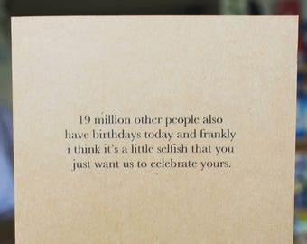 19 Million Other Birthdays - Birthday Card