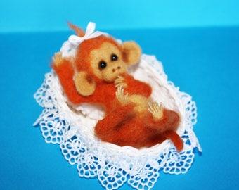 OOAK Needle Felted Miniature realistic sculpture monkey
