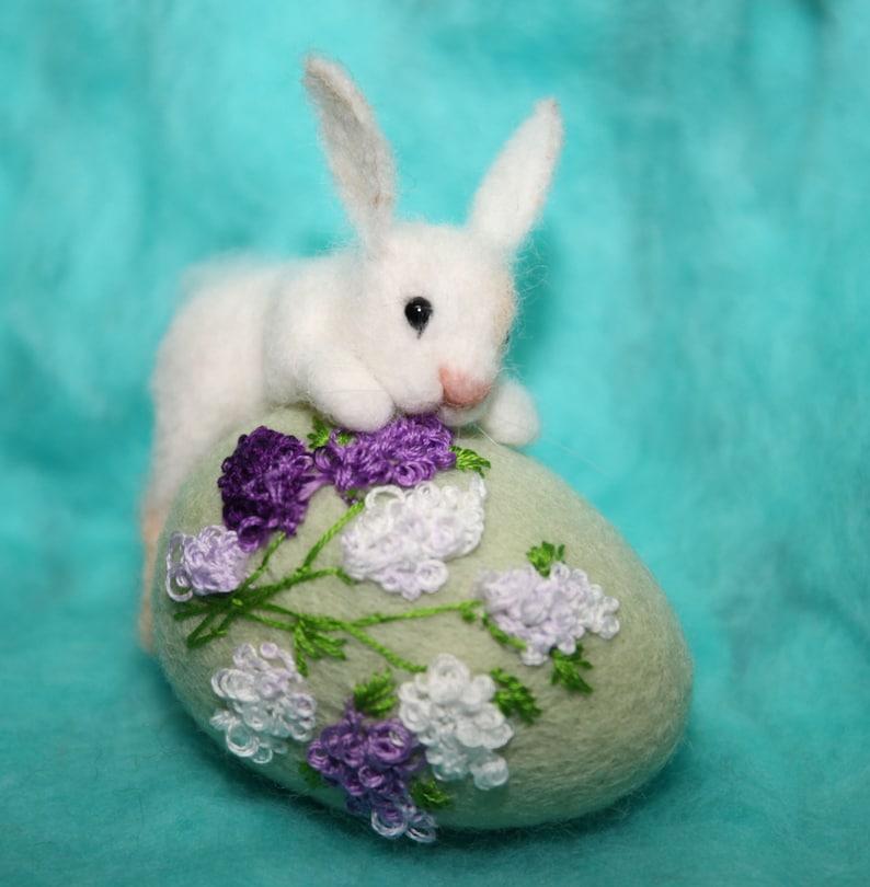 Needle Felted  miniature sculpture hare bunny on egg rabbit Easter handmade gift