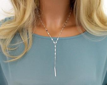 Short Y Necklace Silver, Gold Lariat Necklace, Gold Y Necklace, Layering Y Necklace, Dainty Bar Drop Necklace, Short Lariat Layered Necklace