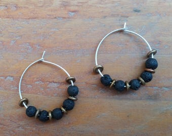 diffuser jewelry, Lava Stone Hoop Earrings For Women, Boho Jewelry, Free Shipping, Diffuser Earrings, Lava Earrings, Affordable Jewelry