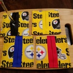 Fabric Wine Glass Slippers and Markers - Pittsburgh Steelers Fabric with Colorful Centers as Markers - Set of 4