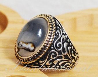Ringe Herrenschmuck Handgemacht 925 Sterlingsilber Natürlich Gelb Karneol Achat Stein Herren Ring Vv