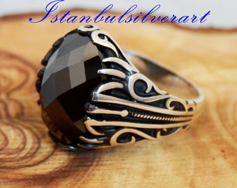 turc Émeraude Argent sterling 925K Bronz Ring Taille 7,8,9 OTTOMAN COLLECTION