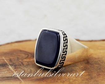 Handgemacht 925 Sterlingsilber Ring Natürlich Rot Achat Stein Herren Ring #N2