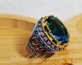 Cubic Zircon Turkish Handmade Ring Tourmaline Ring 925k Sterling Silver Ottoman Ring Gift for Him Yemeni Ring Men/'s Handmade Ring