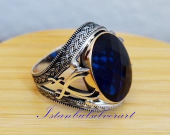 DHL EXPRESS SHIPPING,Sterling Silver Mens Ring,Mens Sapphire Ring,Sapphire Man Ring,Mens Unique Ring,Mens Handmade Ring,Silver Man Ring