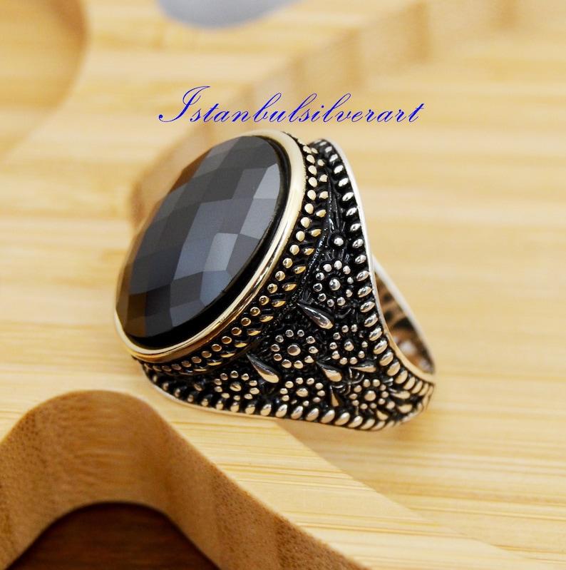 Turkish Handmade Ottoman 925K Sterling Silver Onyx Men/'s Ring Size 8,9,10,11,12