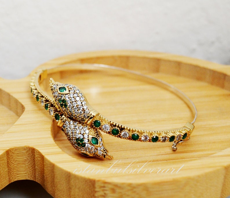 Turkish Handmade 925 Silver Bracelet Snake Women Vintage image 1