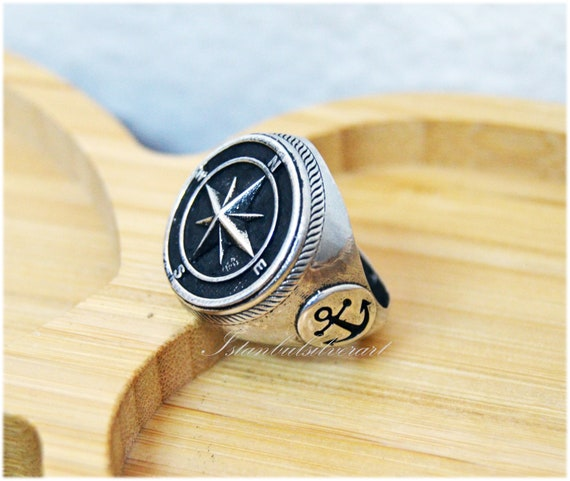 Mens Handmade Ring, Turkish Handmade, Compass Men Ring, Compass Signet Ring, Ottoman Anchor Ring, Birthday Gift, 925k Sterling Silver Ring by Etsy