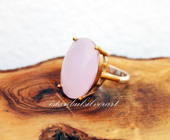 Handmade Ring Women, Turkish Handmade Silver Ladies Ring, Ottoman Ring, Rose Quartz Ring, Ladies Ring, 925k Sterling Silver Ring