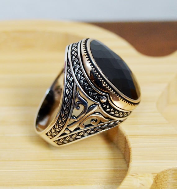 Turkish Ottoman Jewelry Square Black Onyx 925K Sterling Silver Men/'s Ring 2
