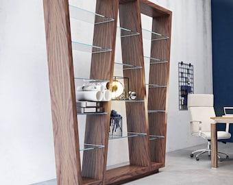 Glass bookcase,bookshelf, library,scaffolding board, cupboard, shelving system,glass storage,display cabinet,design furniture,living room,