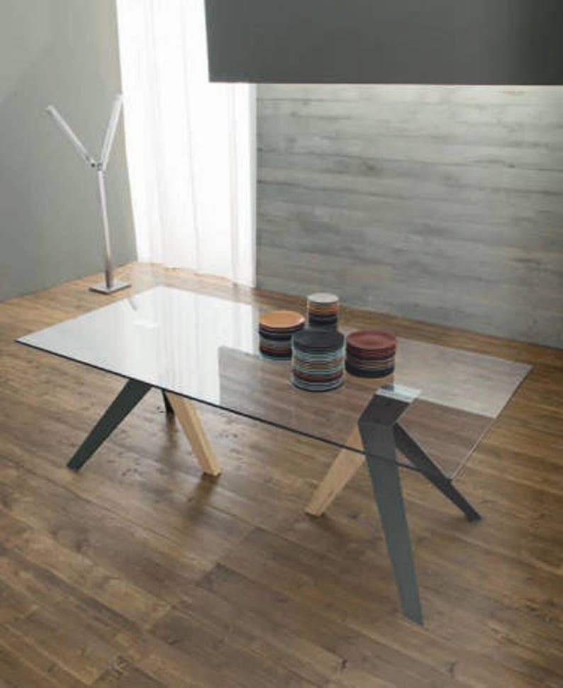 Esszimmer Tisch Tisch aus Glas Rezeption Holz wohnen | Etsy