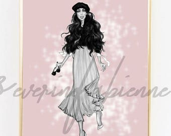 DOWNLOAD TO PRINT Illustration/ Windy Lady  A4 Size