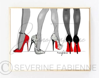 DOWNLOAD TO PRINT Illustration / Louboutin Feet Game  A4 Size