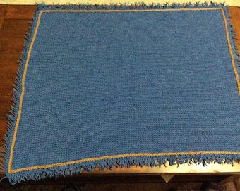 Baby Blanket - Crocheted Fringed Blue Jean Baby Blanket