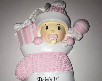 Baby Girl's First Personalized Christmas Tree Ornament With Pink Mitten