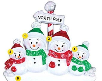 North Pole Family of 4 Personalized Christmas Ornament