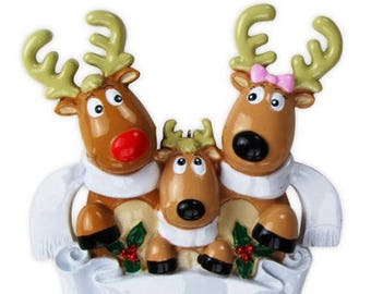 Personalized Reindeer Family of 3 With Scarves Christmas Tree Ornament