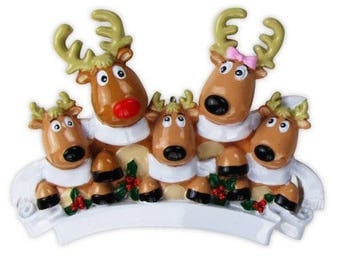 Reindeer Family of 5 With Scarves Christmas Ornament