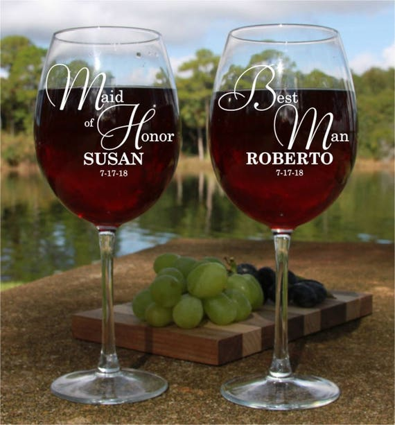 Engraved wine glass engagement party gift for Parents of groom ETCHED WINE GLASSES Father of groom gift wedding party favors from the bride