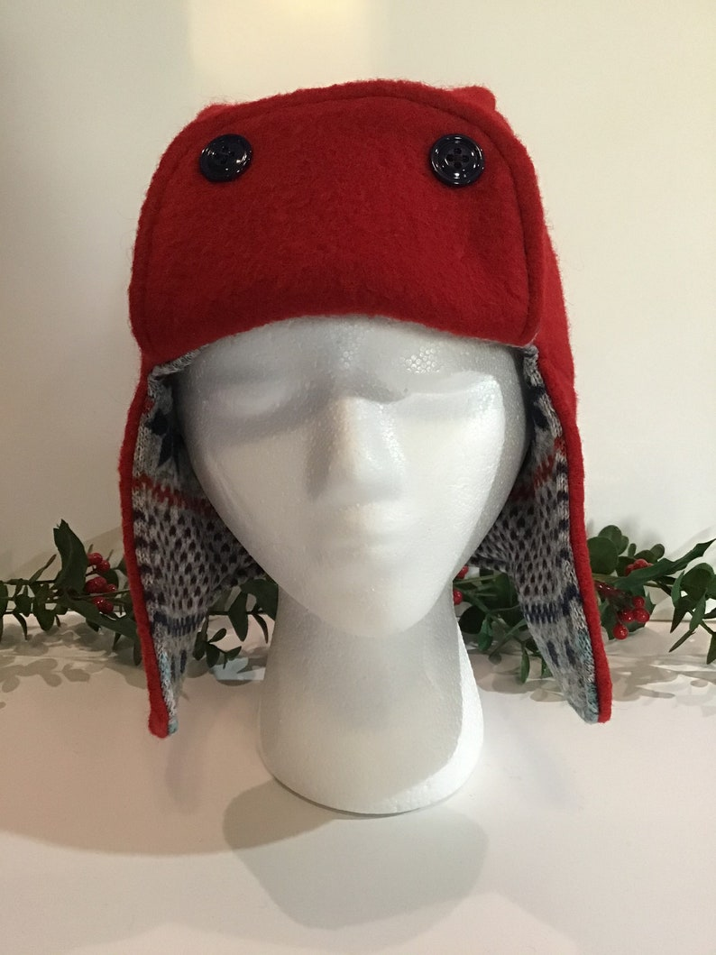 Womens Ladies Recycled Wool Trapper Style Hat Ready To Ship Free Shipping, Warm Red Color Trapper Hat Grey Multi Color Lining