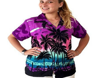 f8ad3348a46905 Hawaiian Blouse Women short sleeve button up shirt beach