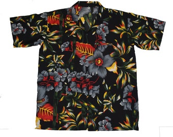 Hawaiian shirt Mens aloha flower tropical party hibiscus floral beach casual cruise