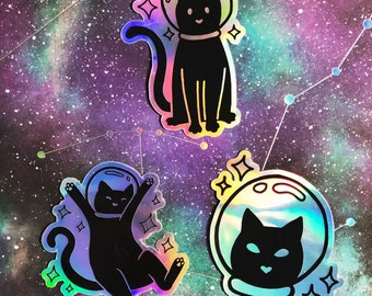 Black Cat in Space with Stars and Galaxy Novelty Coaster Set