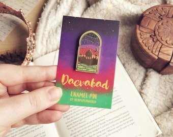 Daevabad Enamel Pin. City of Brass. Empire of Gold. Kingdom of Copper. Nahri. Dara. Ali. Daevabad. Book Pin. Book Enamel Pin.
