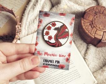 The Phoenix War. The Poppy War Pin. The Dragon Republic. Rin. Kitay. Nezha. Book Pin. Book Enamel Pin.