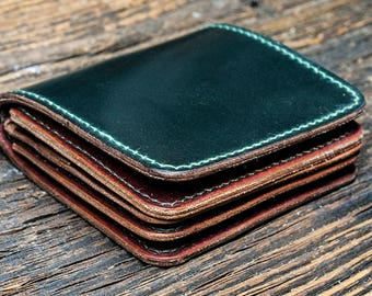 Wallet made of green shell cordovan, shell cordovan, leather wallet, gift wallet