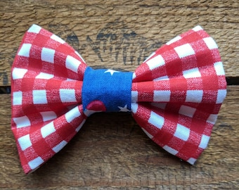 Reverse July Picnic Bow Tie | Pet Bow Tie, Dog Bow Tie, Cat Bow Tie, Dog Collar Accessories, Elastic Bow Tie, Slip On Dog Bow Tie, collar