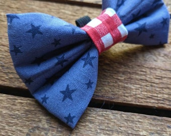 Stars and Stripes Bow Tie | Pet Bow Tie, Dog Bow Tie, Cat Bow Tie, Dog Collar Accessories, Elastic Bow Tie, Slip On Dog Bow Tie, collar