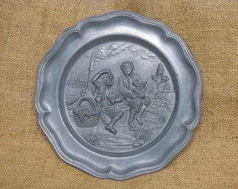 French vintage pewter plate; pewter plaque, wall plaque
