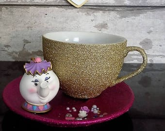 Beauty And The Beast Glitter Coffee Mug -  Mrs Potts Cup And Saucer - Glitter Cappuccino cup - Coffee Cup And Saucer - Disney Mrs Potts