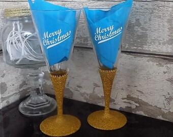 Prosecco glass - Prosecco Gift - Glitter Glass - Glitter Glasses - Glitter Wine Glass - Celebration Glass