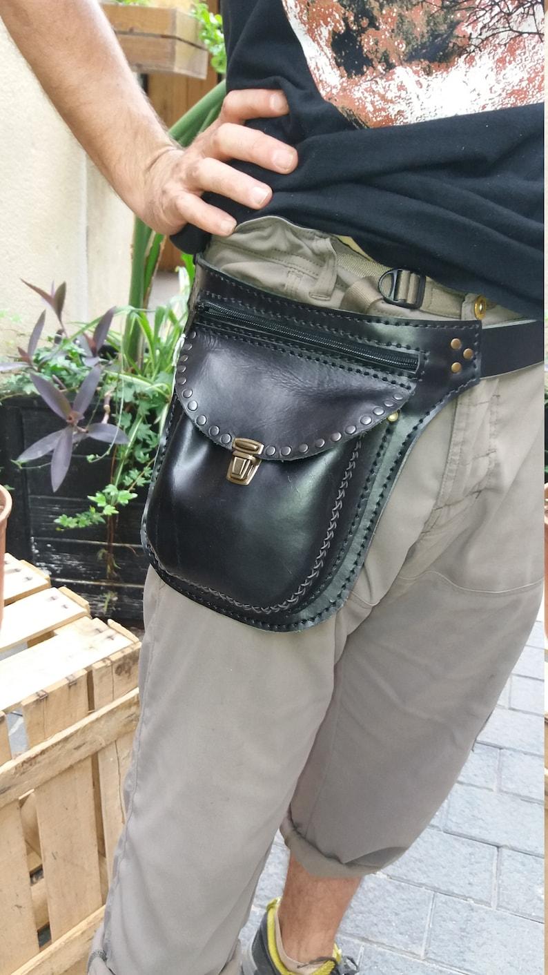 rock fanny pack black belt bag leather hip pack black fanny pack with rivets black leather fanny pack with zipper rocker waist bag